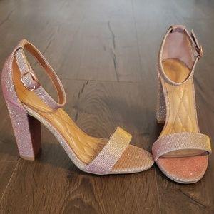 Sparkly Blush & Rose Gold Block Heel Sandals